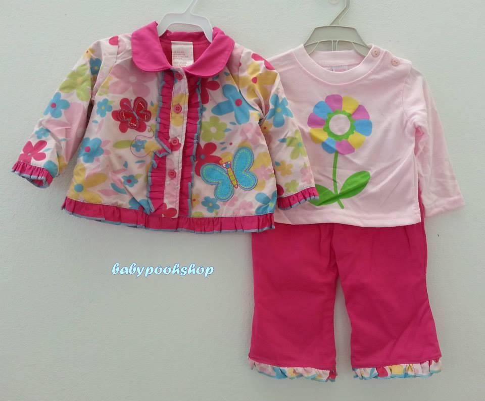 Baby Q : ชุดเซ็ท 3 ชิ้น เสื้อกันหนาวผ้าสำลีสีครีมลายดอกไม้ปักผีเสื้อ พร้อม เสื้อแขนยาวสีชมพูและกางเกงขายาว