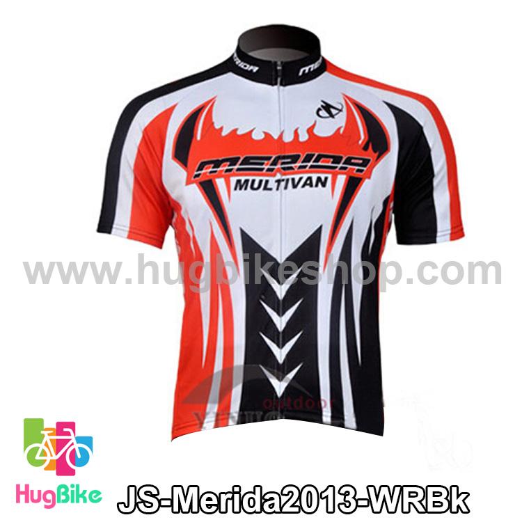 เสื้อจักรยานแขนสั้นทีม Merida 2013 สีขาวแดงดำ สั่งจอง (Pre-order)