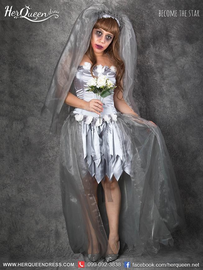 เช่าชุดแฟนซี &#x2665 ชุดแฟนซี ฮาโลวีน เจ้าสาวซอมบี้ รุ่นสีเทา สกรีนลายโครงกระดูกขาว