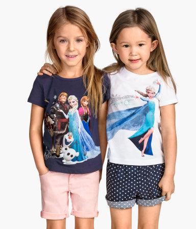 H&M : เสื้อยืด สกรีนลาย เจ้าหญิง Elsa สีขาว (งานช้อป) ตัวขวา Size 10-12y / 12-14y