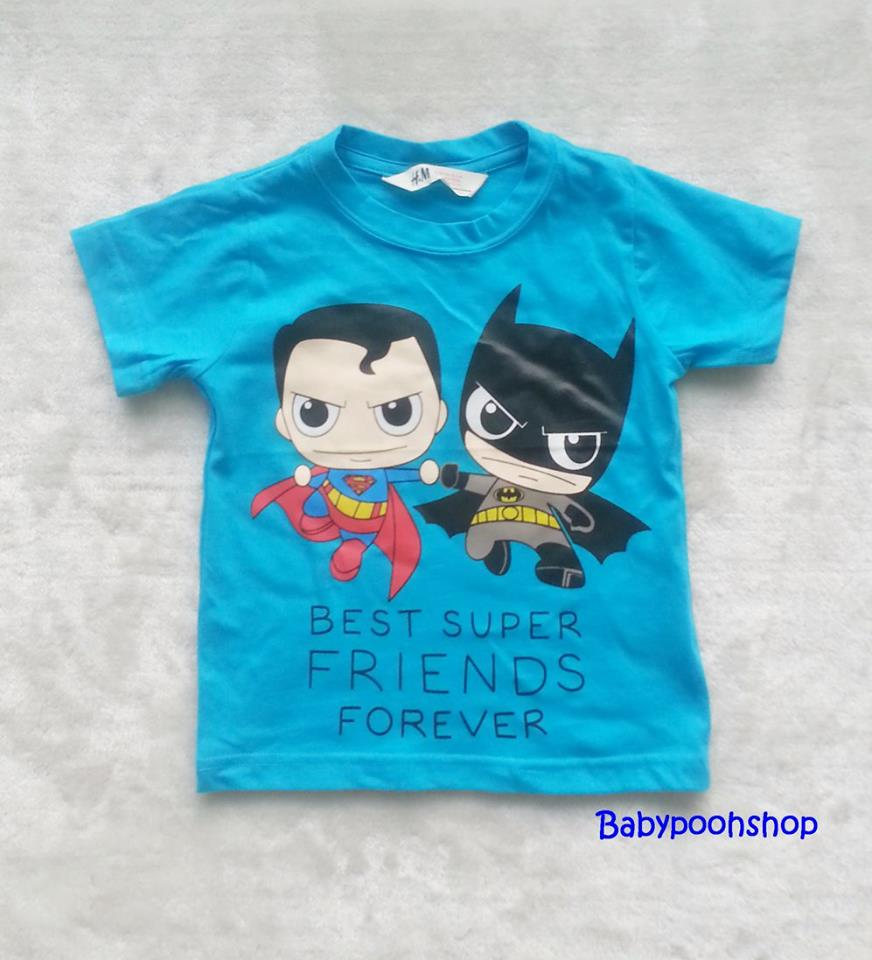 H&M : เสื้อยืด สกรีนลาย Best super friends สีฟ้า size : 2-4y / 4-6y / 6-8y