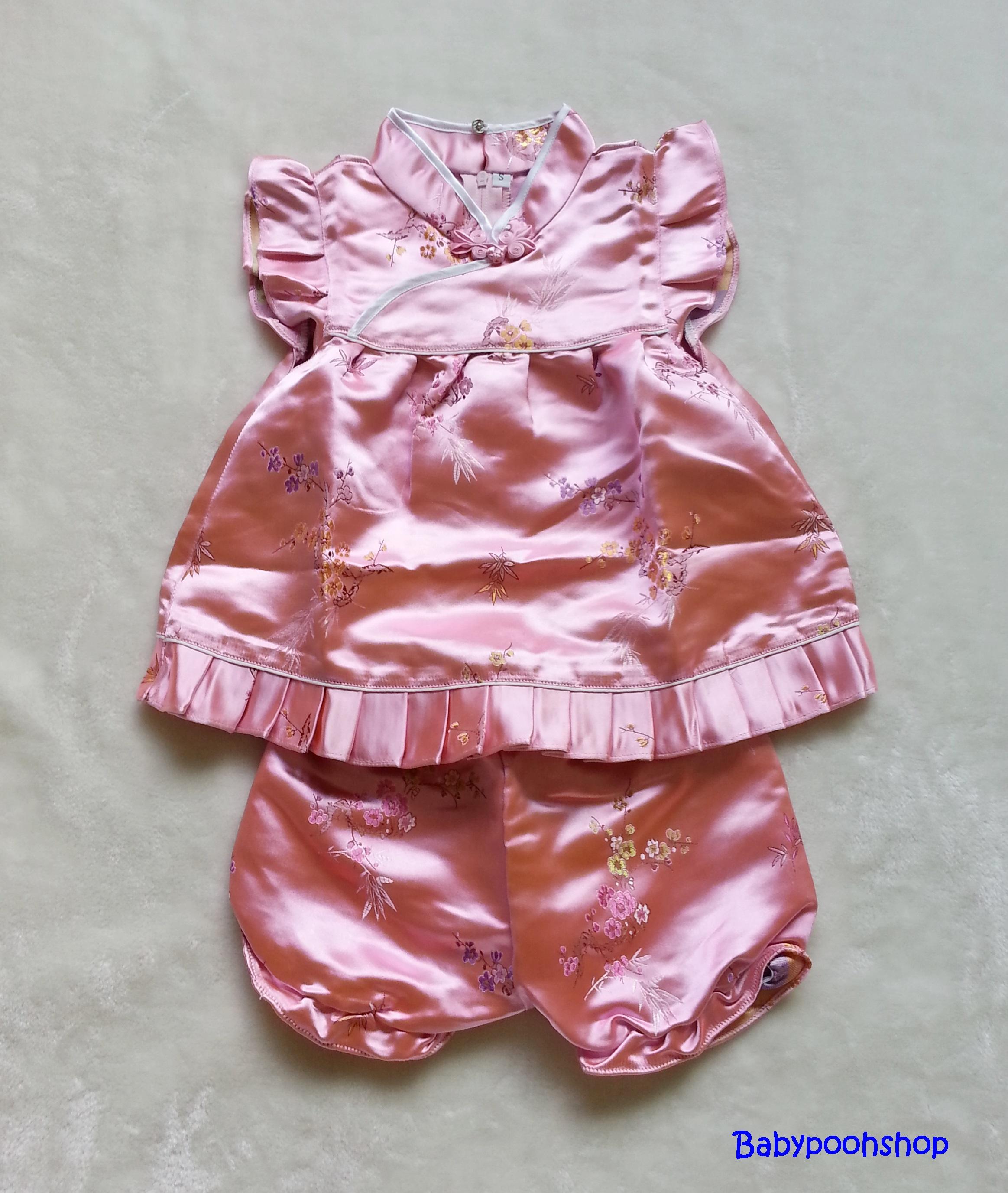ชุดจีนเด็กหญิง พร้อมกางเกงขาสั้น สีชมพู Size : L ( 1.5-2y )