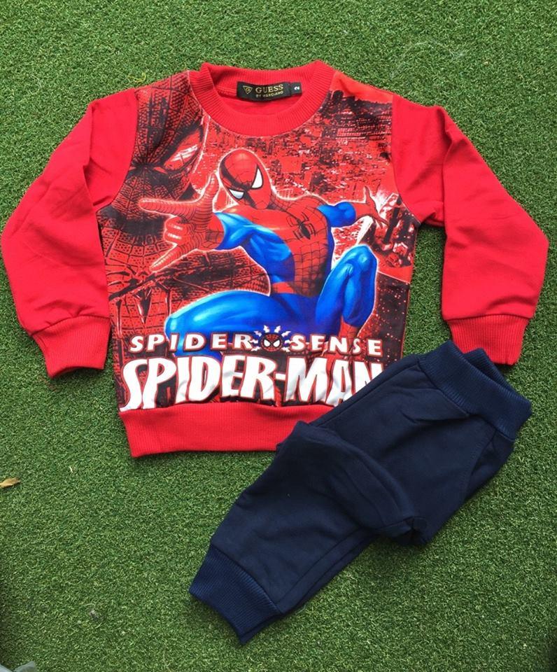 Set เสื้อแขนยาว+กางเกงขายาว สกรีนลาย สไปเดอร์แมน สีแดง size : 6 (5-6y)