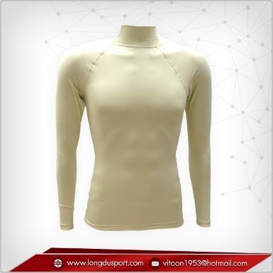 Body Fit / Base Layer เสื้อรัดรูป คอตั้ง แขนยาว สีครีม light yellow