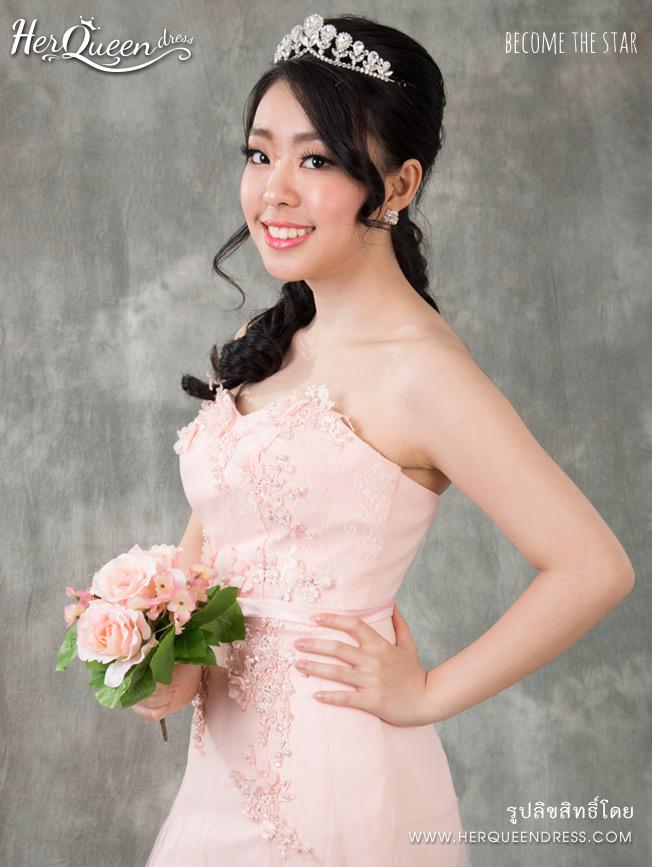 เช่าชุดราตรี &#x2665 เชุดราตรียาว สีชมพูบานเย็นสดเกาะอก แต่งลูกไม้-สีชมพูหวาน