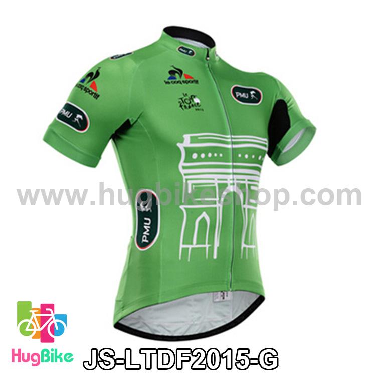เสื้อจักรยานแขนสั้นทีม Le tour de france 2015 สีเขียว สั่งจอง (Pre-order)