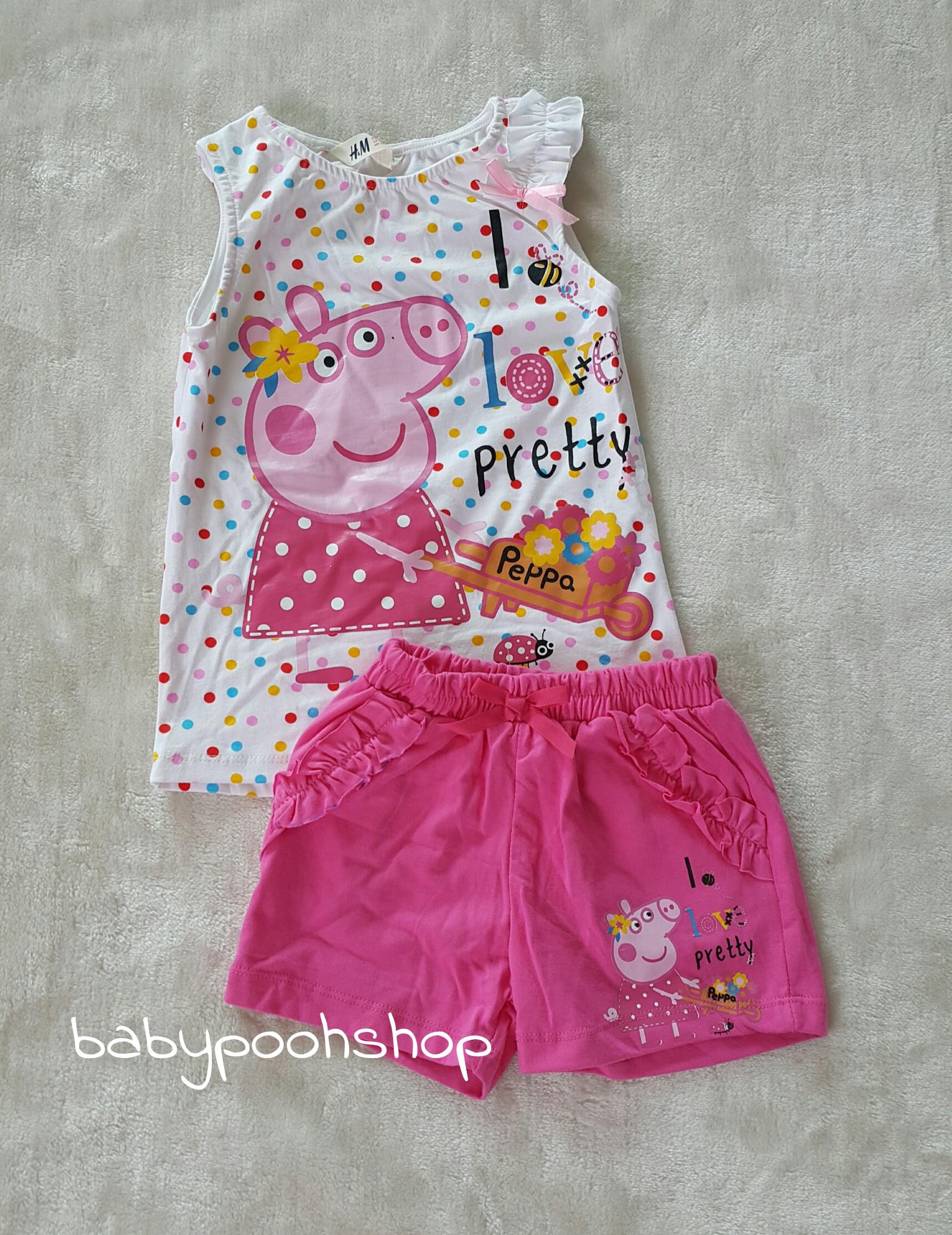 set เสื้อสีขาว+กางเกงขาสั้นสีชมพู Peppa pig size : 1-2y / 2-4y / 6-8y / 8-10y