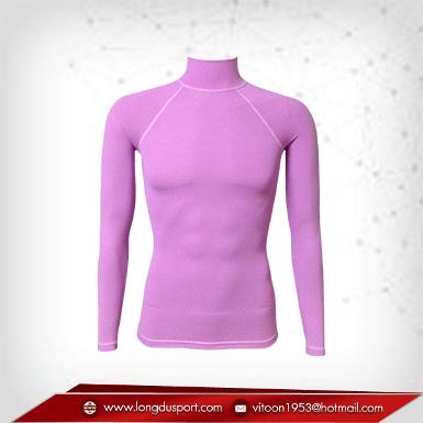 Bodyfit / Baselayer เสื้อรัดรูป คอตั้งแขนยา สีม่วง plum