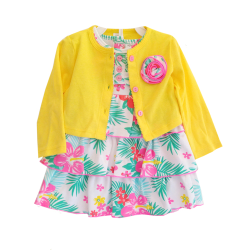 Ashley's : ชุุดเดรสลายดอกไม้ พร้อมเสื้อคลุมสีเหลือง