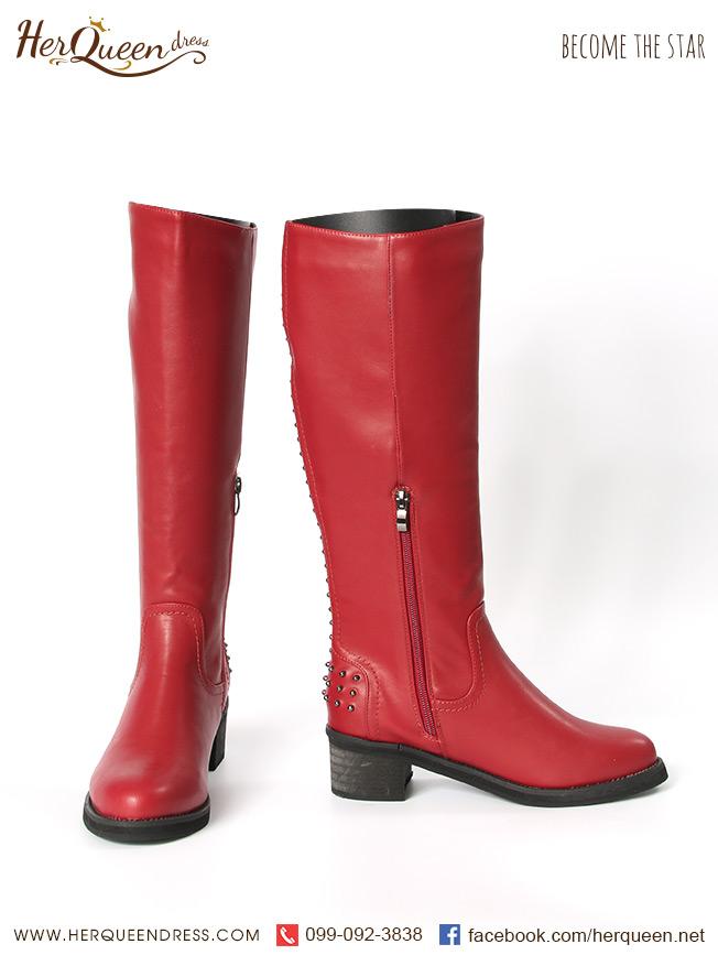 เช่ารองเท้า &#x2665 รองเท้าบู๊ท แต่งหมุด ยาวใต้เข่า - สีแดง