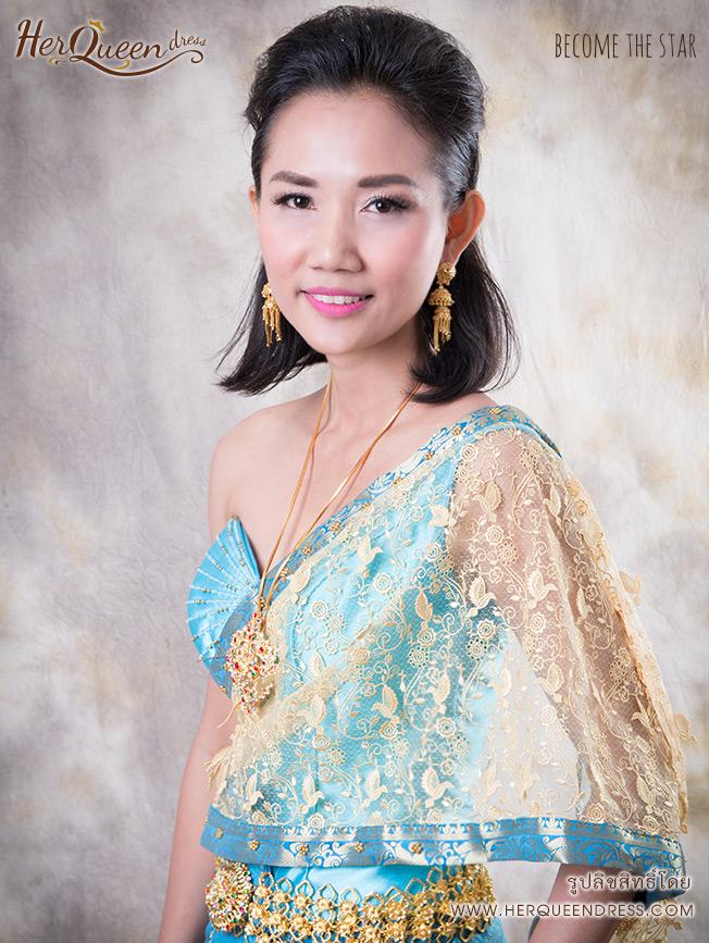 เช่าชุดไทย &#x2665 ชุดไทยสีฟ้าสไบนกสีทอง ซิ่นลายไทยปักชายและยกหน้านาง