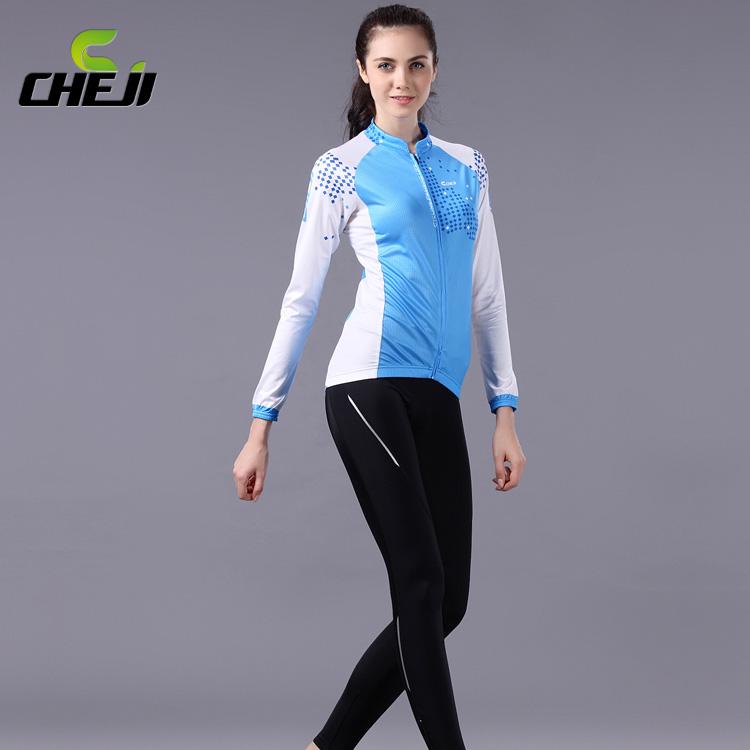 ชุดจักรยานผู้หญิงแขนยาวขายาว CheJi 14 (01) สีฟ้าขาว