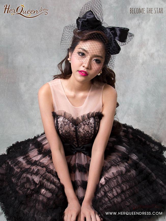 เช่าชุดราตรี &#x2665 ชุดราตรีสั้น เดรสออกงาน แนวตุ๊กตา เจ้าหญิงคอเซ็ท กระโปรงพองแนวตุ๊กตา - สีชมพู-ดำ