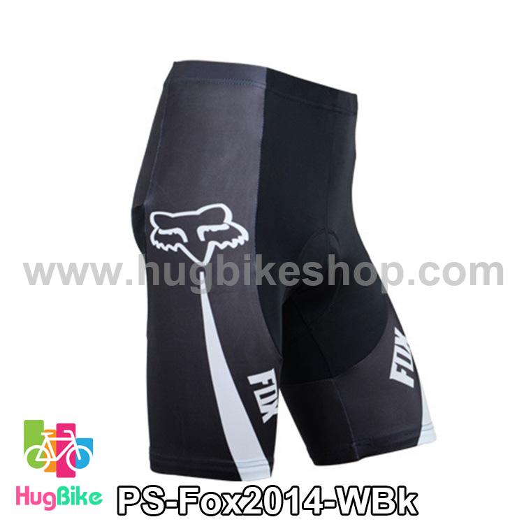 กางเกงจักรยานขาสั้นทีม Fox 14 (01) สีขาวดำ