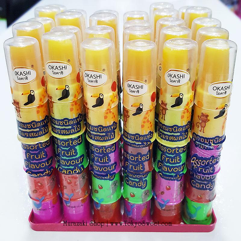 พร้อมส่ง ** Okashi Assorted Fruit Flavour Candy ลูกอมสวมนิ้วมือ รวมรสผลไม้ แพ็ค 30 ชิ้น