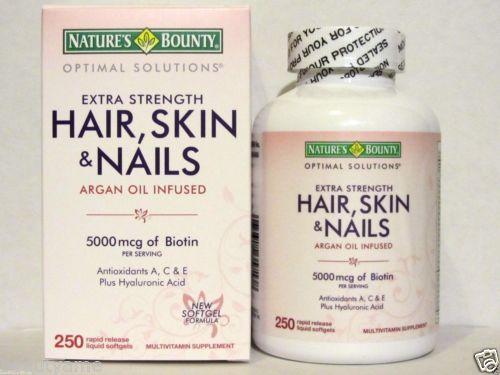 Nature's Bounty Hair Skin and Nails ขนาด 250 เม็ดวิตามินบำรุงผมและเล็บ ผมดกหนา ผิวกระจ่างใส เล็บสวย