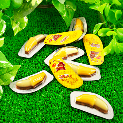 พร้อมส่ง ** Choco Banana Chocolate ช็อคจิ๋วรูปกล้วย 1 ชิ้น (ช็อคโกแลตทนร้อนได้ ไม่ละลาย)