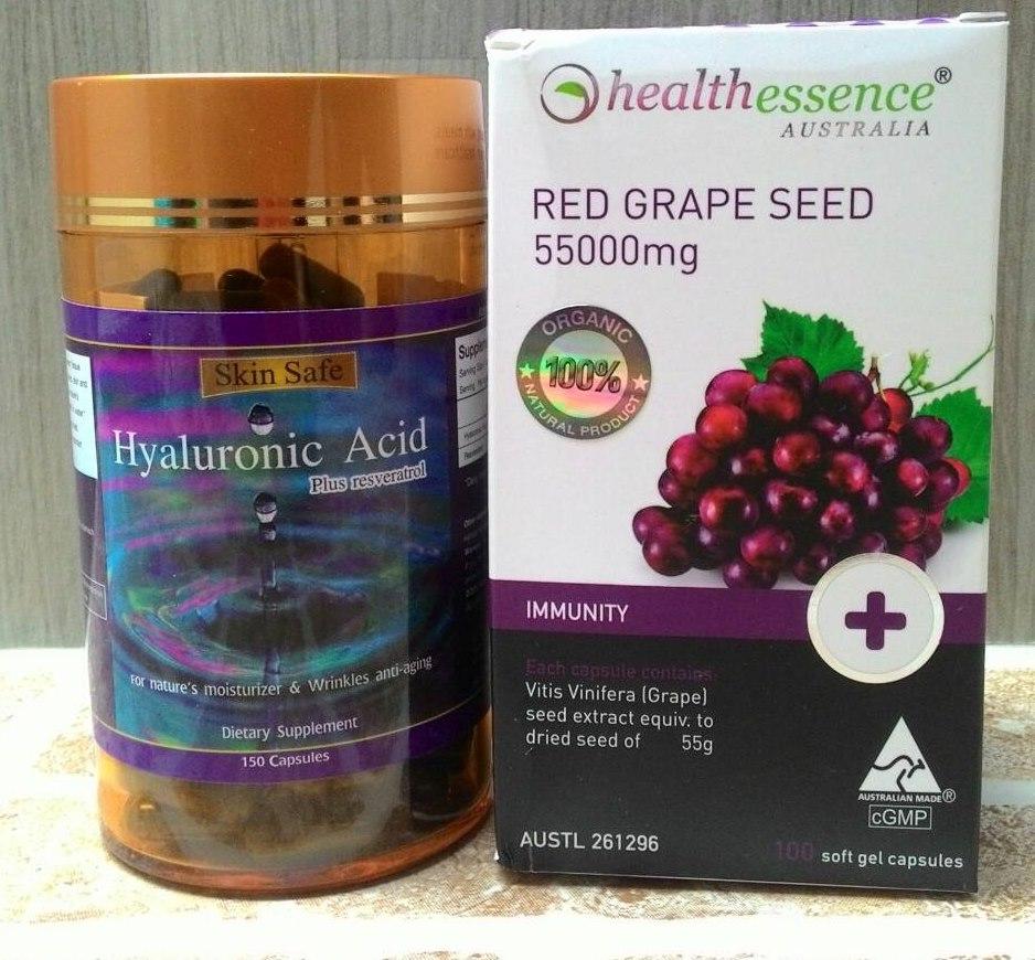 เซตขายดี Healthessence 55000mg +Hyaluronic acid Plus resveratrol (ไฮยาลูรอนิค แอซิด) บำรุงผิวขาว ใสอมชมพู นุ่มลื่น ชุ่มชื่นอิ่มน้ำ