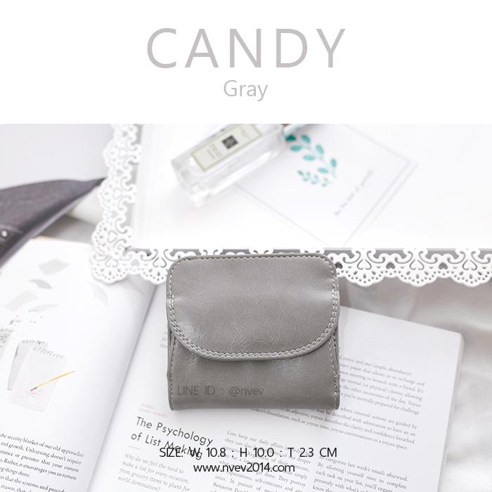 กระเป๋าสตางค์ผู้หญิง ใบสั้น รุ่น CANDY สีเทา