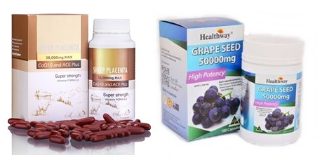 Angel's Secret Sheep Placenta 38,000 mg.Q10 ACE 1 ปุก+Healthway Grapeseed 50,000 mg 1 ปุก