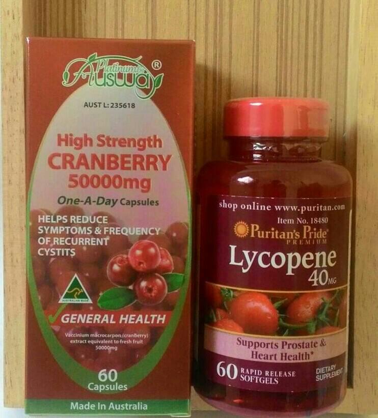 Ausway Cranberry 50,000 mg. 1 ขวด 60 เม็ด + puritan Lycopene 40 Mg. สารสกัดมะเขือเทศ 60 เม็ด ขาวอมชมพู ไร้สิว ไร้จุดด่างดำ จุดซ่อนเร้นหอมสะอาด