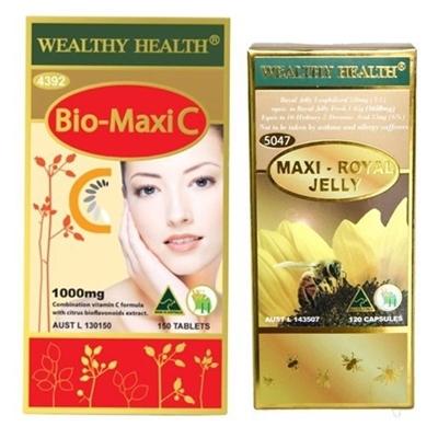 Wealthy Health Bio-Maxi C 30 เม็ด + นมผึ้ง Wealthy Health Maxi 30 เม็ด