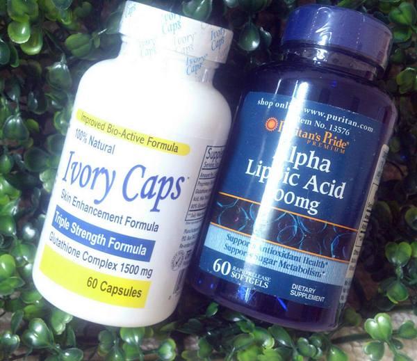 Ivory Caps กลูต้าไธโอนแบบกิน 60 แคปซูล + Alpha Lipoic Acid ตัวเร่งขาว 300 มก. 60 ซอฟเจล(ทานร่วมกันเห็นลดี)