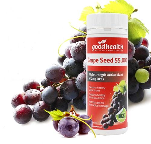 สารสกัดเมล็ดองุ่น 55,000 mg. มี OPC 412 MG.ยี่ห้อgoodhealth จากนิวซีแลนด์ เพื่อผิวกระจ่างใสและสุขภาพดี ขนาด 120 แค็บซูล