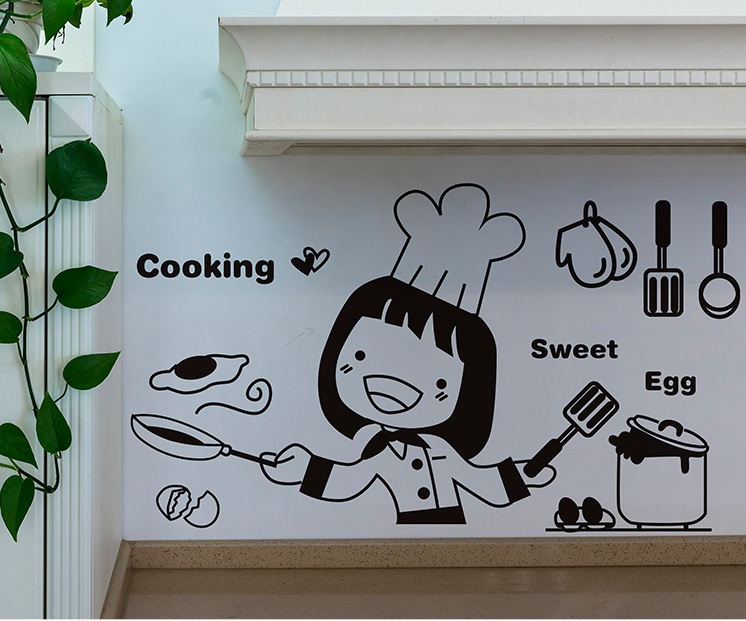 """สติ๊กเกอร์ติดผนังตกแต่งบ้าน """"Cooking Sweet Egg"""" ความสูง 25 cm ยาว 40 cm"""