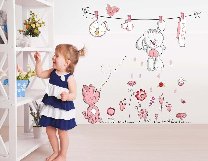 """สติ๊กเกอร์ติดผนัง สำหรับห้องเด็ก """"กระต่าย cute rabbits"""" ความสูง 130 cm กว้าง 100 cm"""