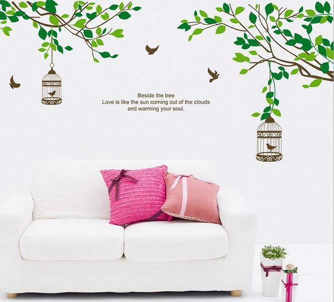 """Wall sticker ตกแต่งผนัง หมวดต้นไม้ """"ต้นไม้เขียวกับกรงนก"""" ความสูง 70 cm ความกว้าง 140 cm"""