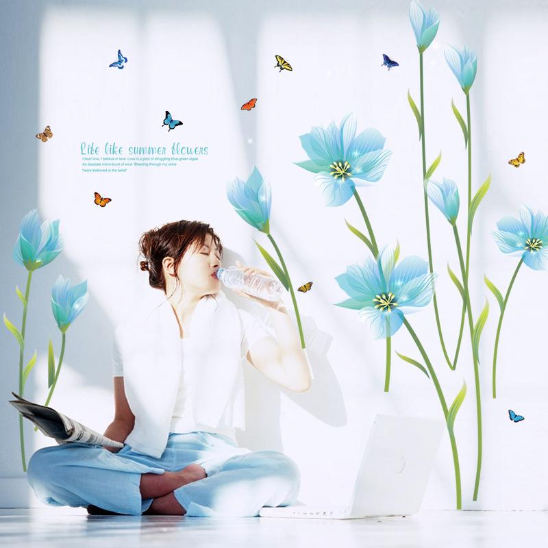 """สติ๊กเกอร์ติดผนังตกแต่งบ้าน """"Sky Blue Flora"""" ความสูง 105cm กว้าง 185cm"""