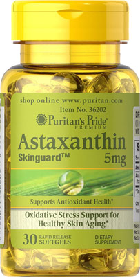 ต้านอนุมูลอิสระ Puritan's Pride Natural Astaxanthin 5 mg 30 Softgels