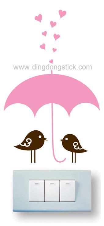 """สติ๊กเกอร์ติดปลั๊กไฟ """"Cute bird and Pink Umbrella"""" 8 x14 cm"""