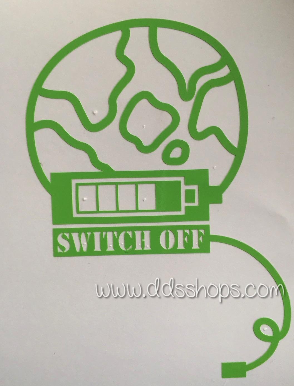 """สติ๊กเกอร์ติดปลั๊กไฟ """"Switch Off โลกสีเขียว"""" ขนาดซองบรรจุ 15 x 12 cm"""