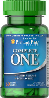 วิตามินรวม Puritan's Pride One Multivitamins Timed Release ขนาด 60 Caplets