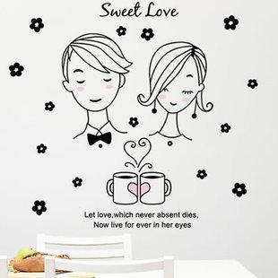 "Transparent Wall Sticker ""Sweet Love"" 50x70 cm"
