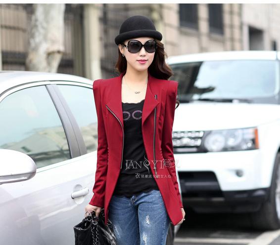 เวอร์ชั่นเกาหลี เสื้อแจ็คเก็ต ซิป แขนยาว สีแดง เสื้อคลุม