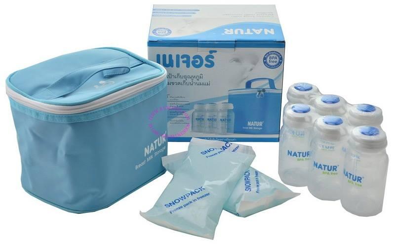 กระเป๋าเก็บอุณหภูมิ พร้อมขวดเก็บน้ำนม 6 ขวด + เจลรักษาความเย็น 2 แพ็ค ยี่ห้อ Natur