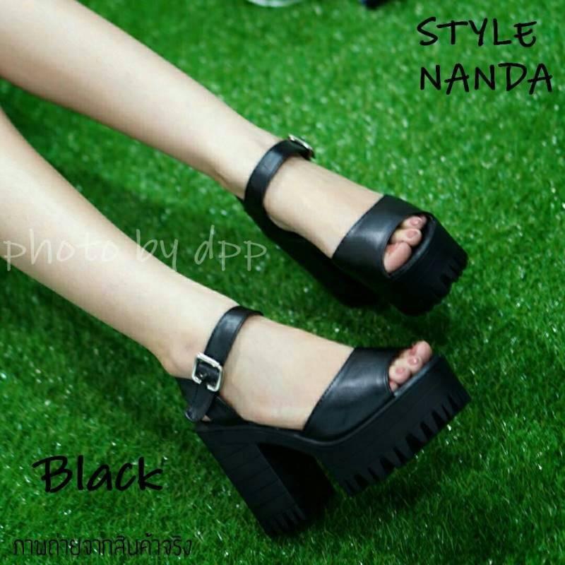 พร้อมส่ง : รองเท้าStyle nanda Shoes หน้าสวม (สีดำ)