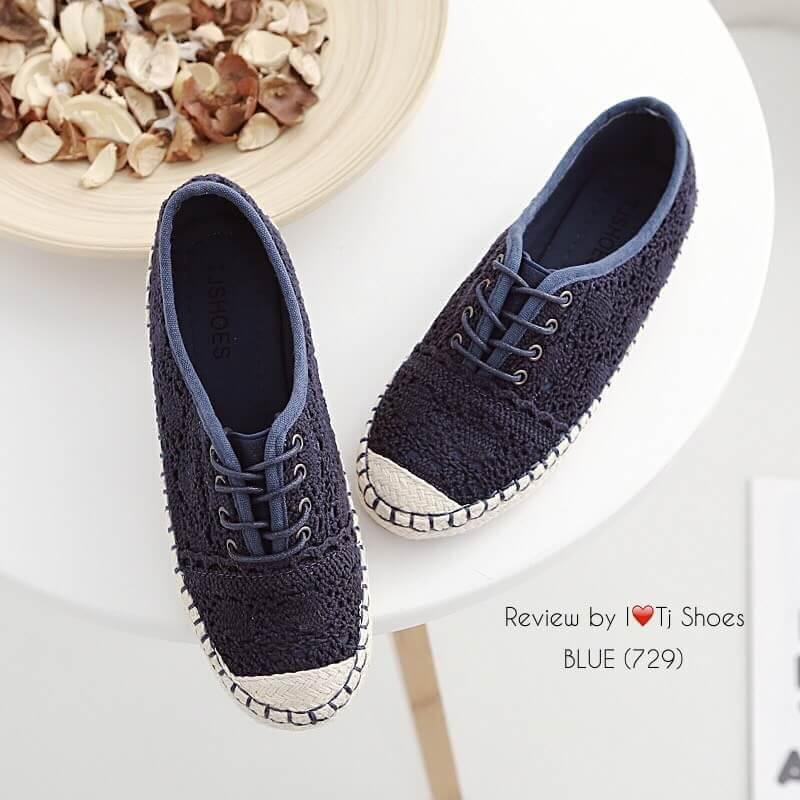 รองเท้าผ้าใบลูกไม้สไตล์วินเทจ (สีกรม)