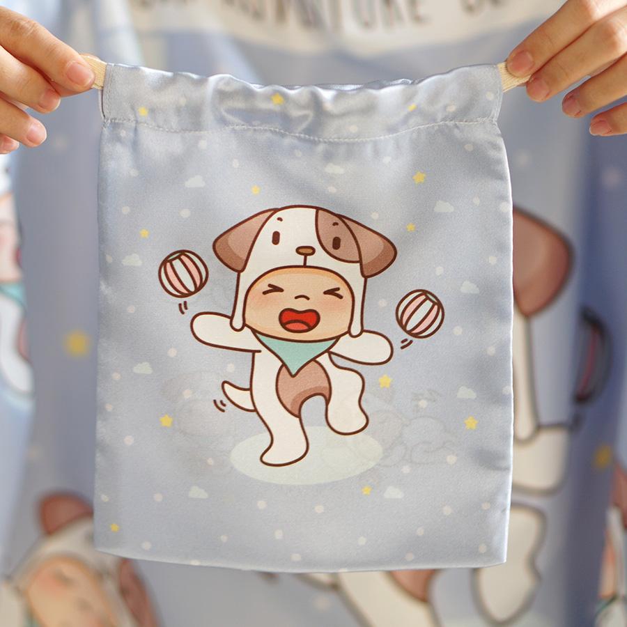 ถุงผ้าซาติน ลาย Puppy - Blue