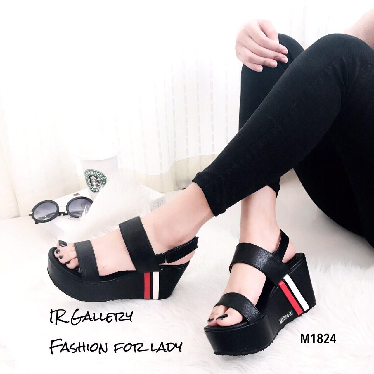 รองเท้าส้นเตารีดเมจิกเทปแต่งลาย (สีดำ)
