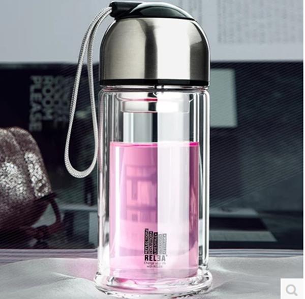 Pre-Order กระบอกน้ำสุญญากาศ กระติกน้ำร้อน กระติกน้ำเย็น แก้วน้ำคริสตัลพิเศษ 2 ชั้น ขนาดบรรจุ 280 มล. มี 2 สี สีดำ และสีกาแฟอ่อน