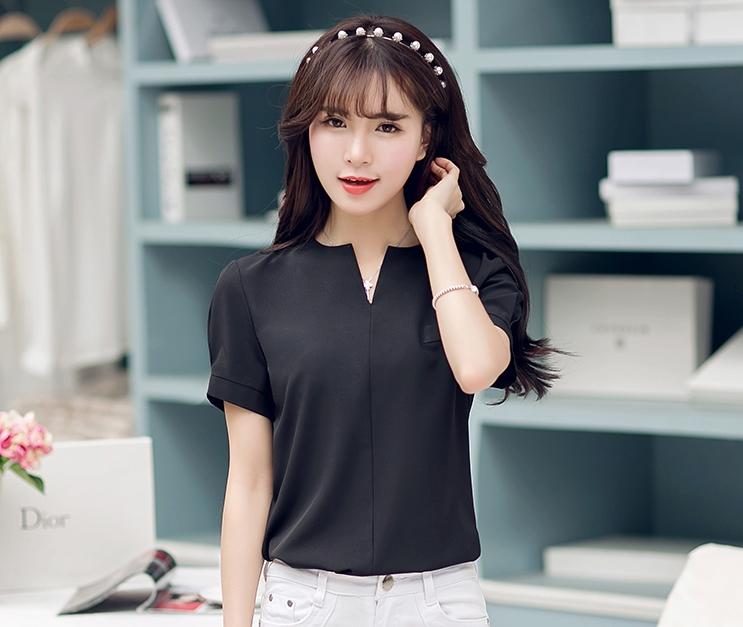 เสื้อทำงานสีดำ แขนสั้น สำหรับวันสบายๆ รหัสสินค้า 10-S2205-ดำ