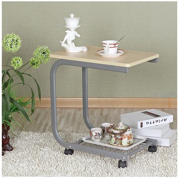 Pre-order โต๊ะแล็ปท็อป โต๊ะวางคอมพิวเตอร์ โต๊ะทำงาน โต๊ะวางถ้วยกาแฟ มีล้อเลื่อน สีโอ๊คเหลือง