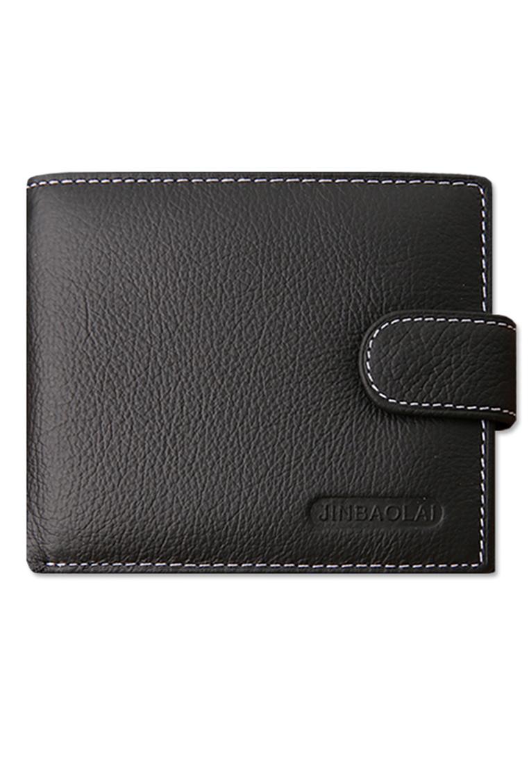 กระเป๋าสตางค์ผู้ชาย หนังแท้ JINBAOLAI - Black
