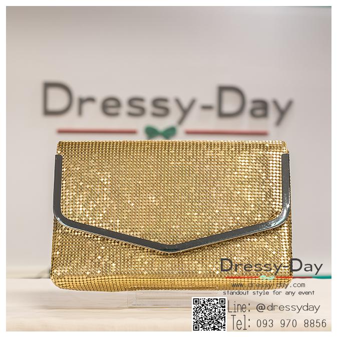 กระเป๋าออกงาน TE038 : กระเป๋าคลัชพร้อมส่ง สีทอง ขอบเงิน สวยเรียบหรู ใช้สะพายออกงานเช้า กลางวัน หรือถือไปงานกลางคืน สวยหรู ดูดดีมากๆ