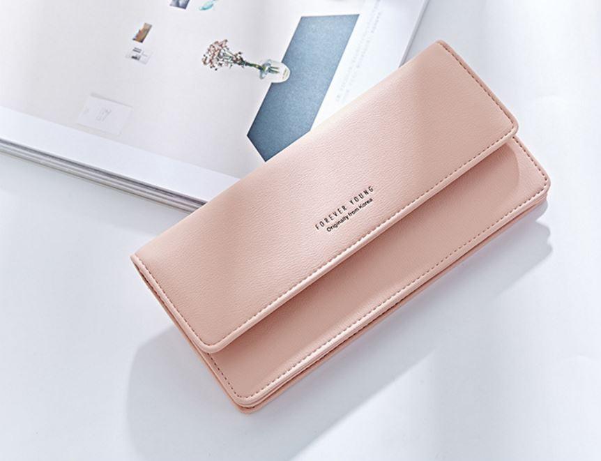 กระเป๋าสตางค์ผู้หญิง ทรงยาว รุ่น Weichen Forever Young Half Pink สีชมพูอ่อน ส่งพร้อมกล่อง