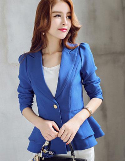 เสื้อสูทผู้หญิงสีนำเงินเอวระบาย ใส่ทำงาน สไตล์เรียบหรู 5 size S/M/L/XL/XXL รหัส 1724